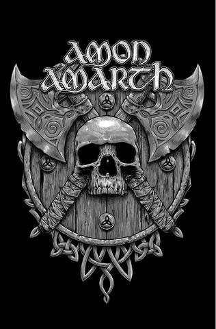 amon amarth skull and axes flag