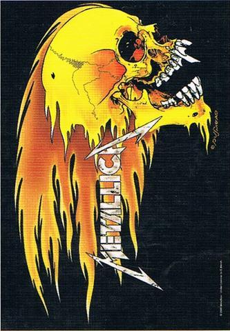 metallica flaming skull flag
